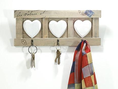 Pareti In Legno Shabby : Armadietto da parete in legno shabby chic con ganci a forma di cuore