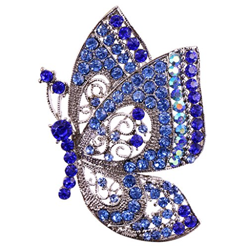 MagiDeal Wedding Bridal Vintage Butterfly Silver plated Brooch Pin Rhinestone Crystal - Blue (Blue Plated Brooch)