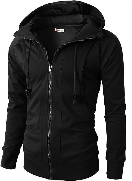 H2H Mens Long Sleeve Slim Fit Hoodie Front Zip with Pocket Outwear Jacket Black US S/Asia M (KMOHOL019)