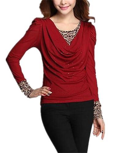 Gogofuture Leopardo Camisetas Mujeres Con Manga Larga Cuello Redondo Camisa Blouses T Shirt Pullover...