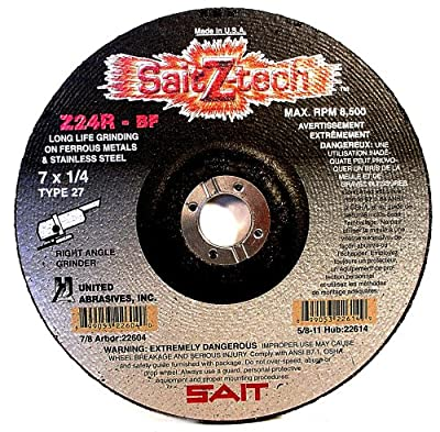 SAIT 22614 Type 27 7-Inch x 1/4-Inch x 5/8-11 8500 Max RPM Z-Tech - Z24R Zirconium Depressed Center Grinding Wheels, 10-Pack