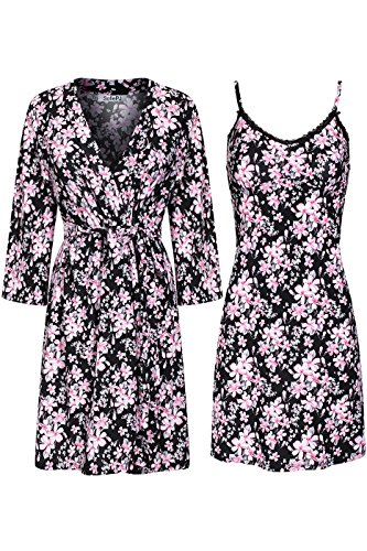 Chemise Set - SofiePJ Women's Printed Sleepwear Chemise and Robe 2 Piece Set Pink Black M(504347)