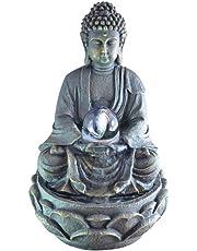 Zen Luz SCFR 8G Buddha Fuente Meditación Gran Interior Marrón Oscuro/Chocolate 21 x 21 x 30 cm