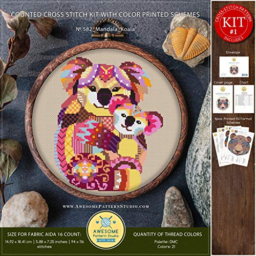 Mandala Koala #K582 Cross Stitch Embroidery Kit | Funny Animals Cross Stitch Patterns | Cross Stitch World | Cross Stitch Designs | Cross Pattern - $8.00
