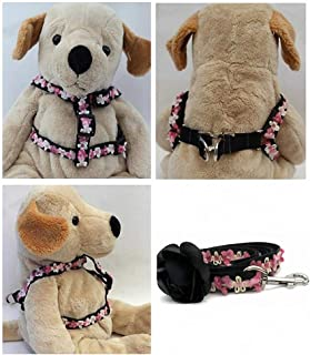 "product image for Diva-Dog 'Coco Pink' Custom 5/8"" Wide Dog Step-in Harness with Plain or Engraved Buckle, Matching Leash Available - Teacup, XS/S"