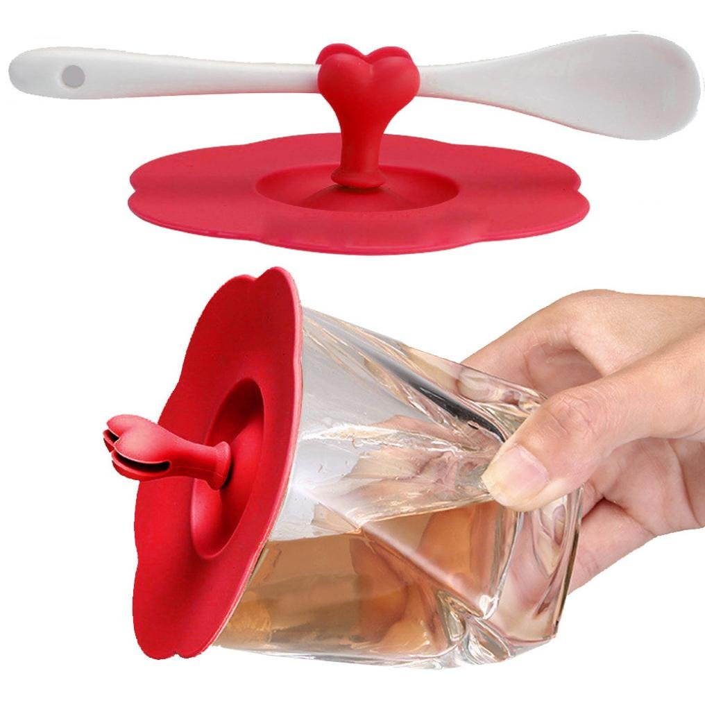 LiPing Lovely Cute heart anti-dust Silicone Fruit Cup Cover Leakproof Coffee Lid Cap Airtight Cup Cover (red)