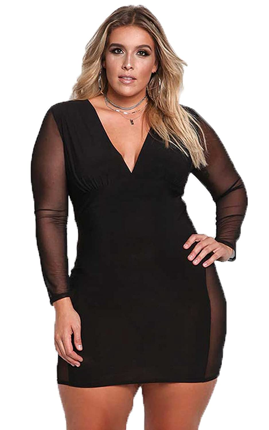 54c2cb3efee7 Sexy Plus Size Dress - V Neck Mesh Long Sleeves Autumn Women Bodycon Dress  at Amazon Women's Clothing store: