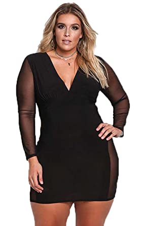 0ac913de1ec9 JJ-GOGO Sexy Plus Size Dress - V Neck Mesh Long Sleeves Autumn Women Bodycon