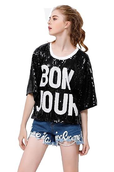 P R Womens Fashion Sequins Sparkle Glitter Plus Size Blouses Hip Hop