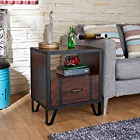 Furniture of America Sivenza Rustic Vintage Walnut Industrial End Table