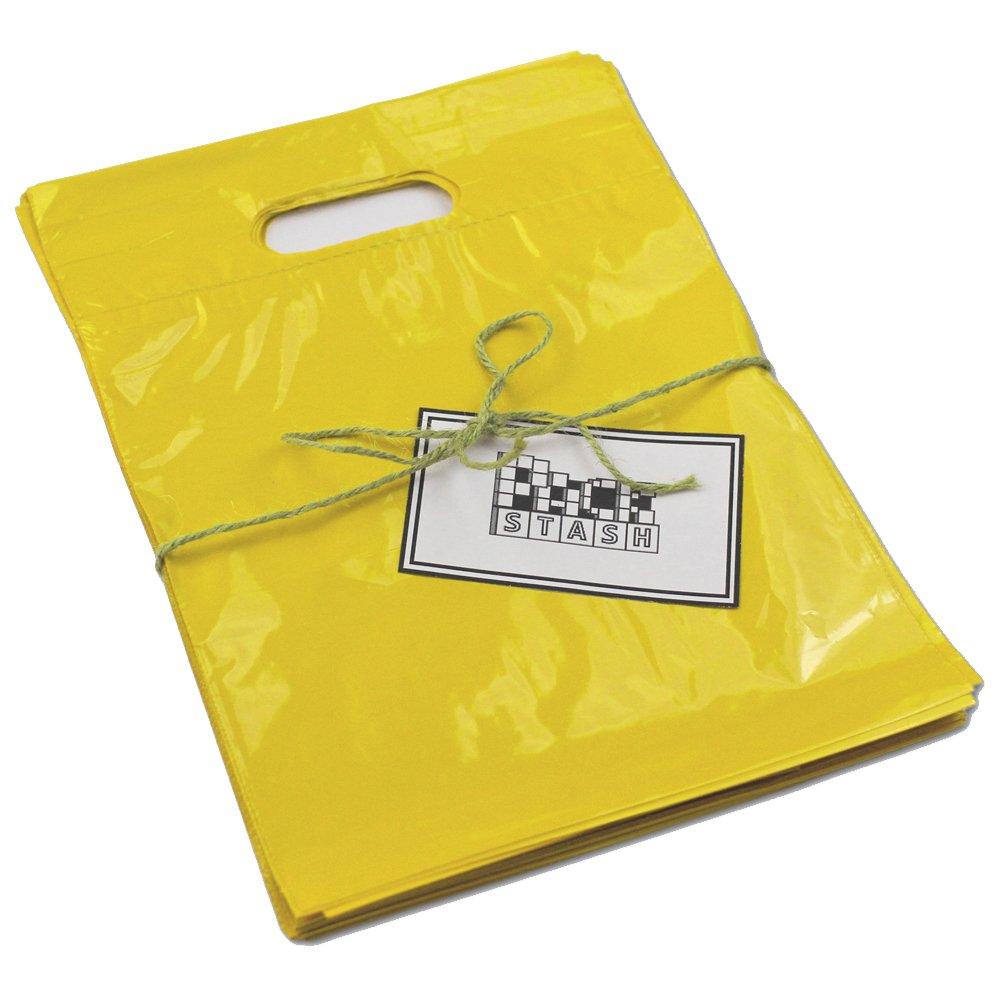 PackStash (500 QTY) 16'' x 18'' x 4'' YELLOW Retail Merchandise Plastic Shopping Bags - (LARGE) Premium Tear-Resistant Film, Double Thick Handles, Vibrant Glossy Finish