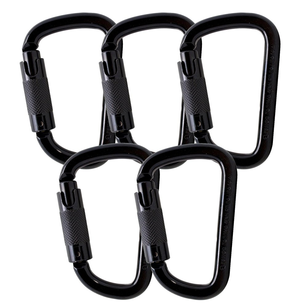 Fusion Climb Tacoma Steel Triple Lock with Key Nose Modified D-shaped Carabiner 5-Pack by Fusion Climb