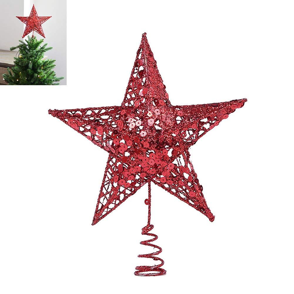 EisEyen 25/cm Metal Estrella /Árbol de Navidad /árbol de Navidad Brillante Oro Plata Rojo