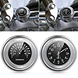 "Waterproof Universal 7/8"" 1"" Motorcycle Handlebar Mount Clock and Thermometer Temp"
