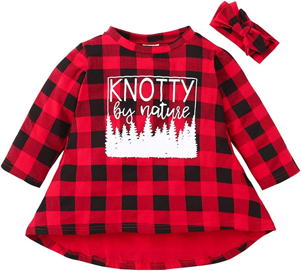 Kids Toddler Baby Girl Dress Long Sleeve Plaid Word Print Clothes