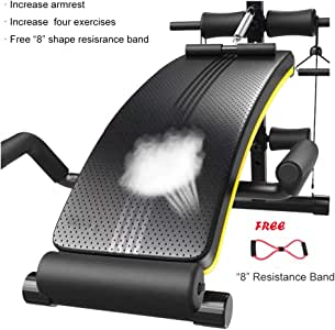 Fitness Equipment Sit up Bench Workout Ab Foldable Bench 660 LB Weight Capacity Adjustable for Home Gym Crunches Abdominal Muscles Exercise (Color : B(Band))