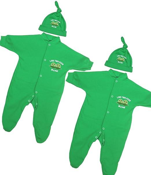 Babyprem Bebé Jueglo de 2 Piezas Pijama Sombrero Ropa Gemelos Niña Niños Verde 68-74cm