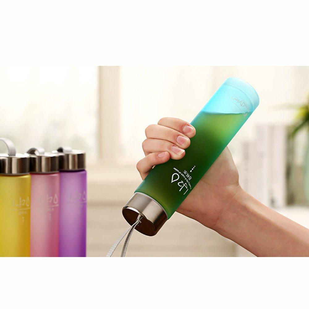 Theshy Bottiglia Diritta di Plastica Variopinta Colorata AllAperto della Tazza di Campeggio AllAperto Tazza Termica Tazza Termica da Viaggio Tazza da Viaggio