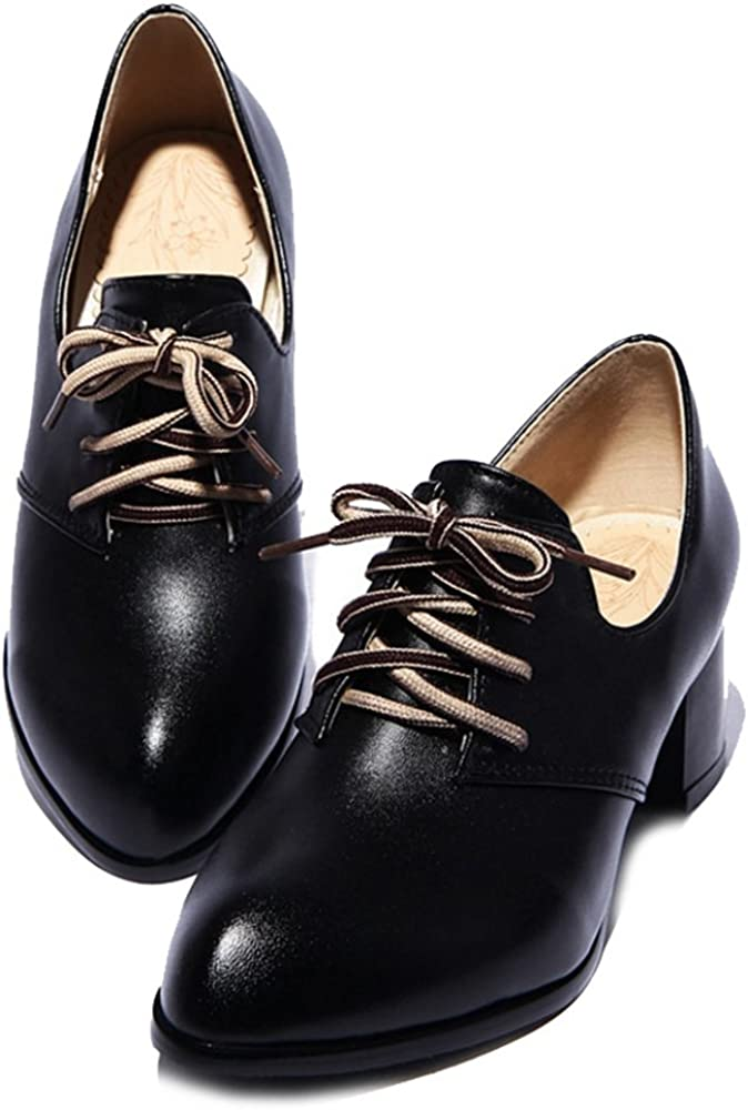 SJJH Leisure Court Shoes with Pointed Toe and Mid Chunky Heel Women Lace Up Women Casual Shoes with Large Size Black
