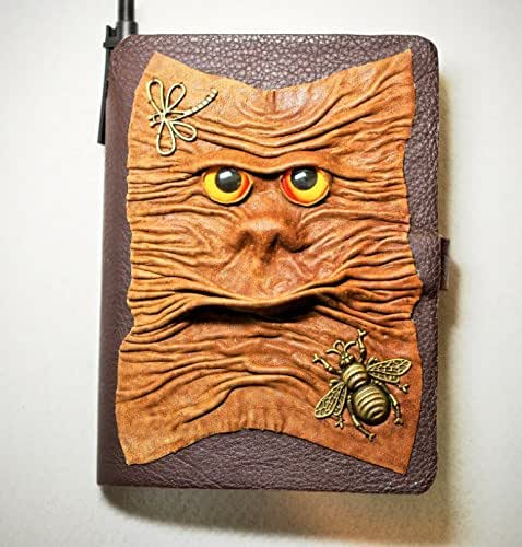 Amazon Com  Large Brown Leather Journal  Notebook  Daily Organizer  Blank Book With 3d Monster