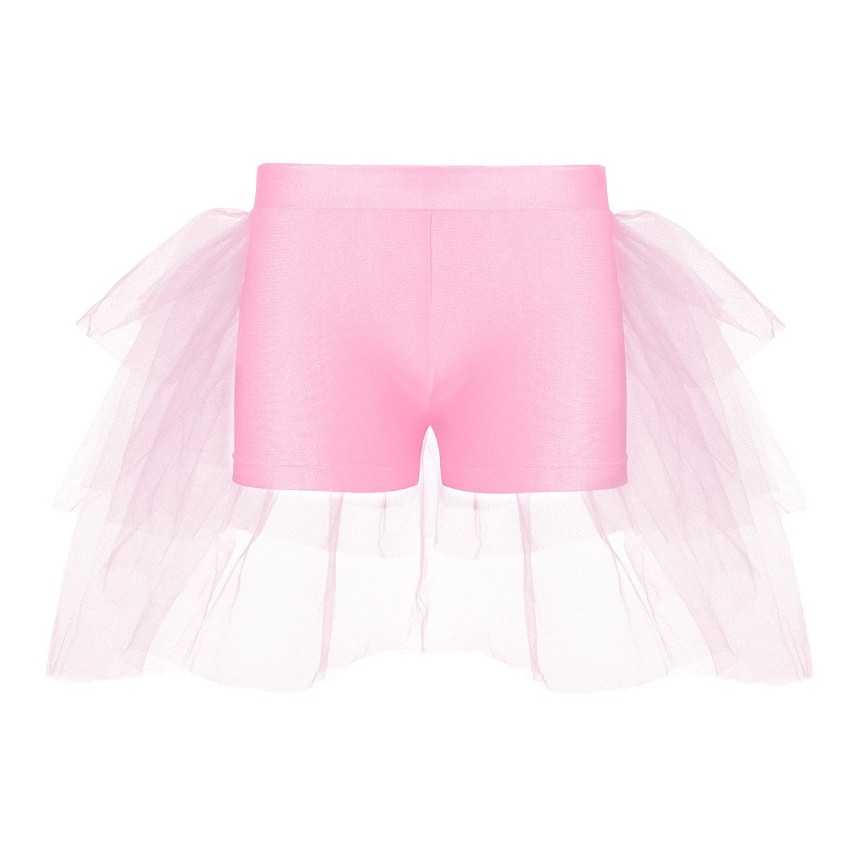 dPois Kids Girls' Ballet Dance Performance Sports Workout Stretch Tight Shorts with Attached Tiered Mesh Bustle Pink 3-4