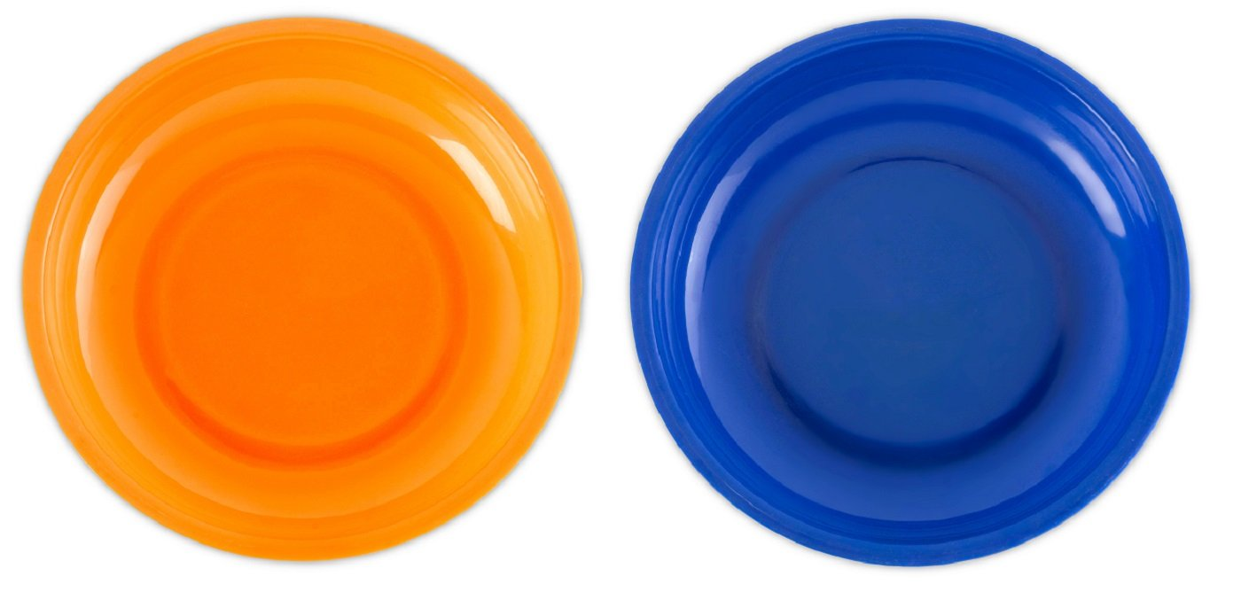 2 Pack Magnetic Plastic Tray Holders – Orange and Blue - Use In Garage, Home, Construction - For Nuts, Bolts, Washers, Iron, Nails, Screws, Sockets, Bits, Etc. - 6 Inch x 1-1/4 - By Katzco