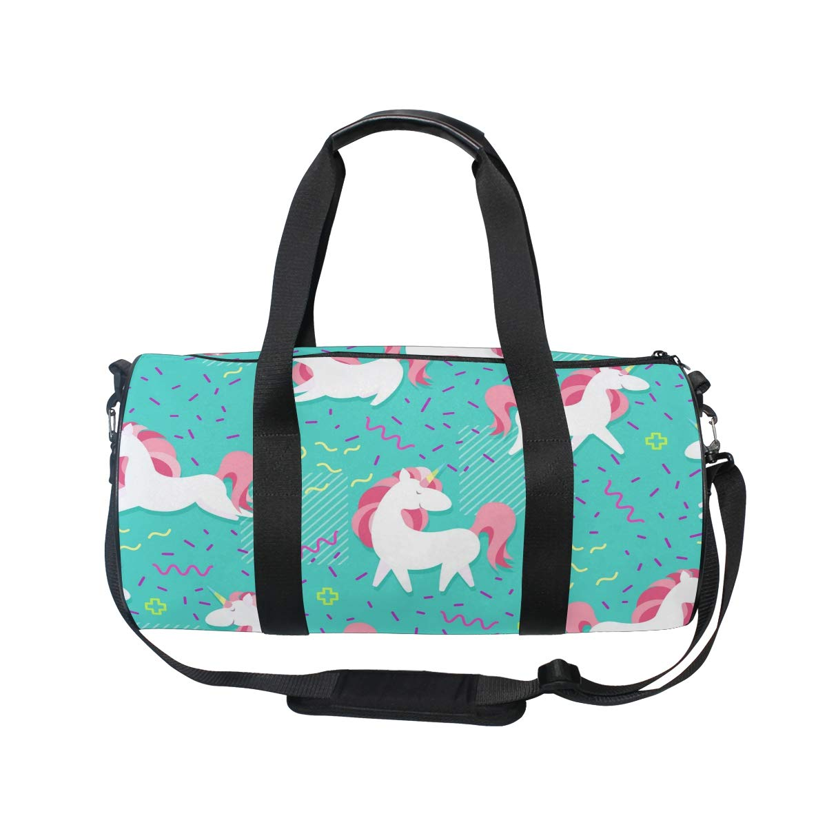 WIHVE Gym Duffel Bag Magic Unicorn With Rainbow Horn Hearts Wings Memphis Sports Lightweight Canvas Travel Luggage Bag