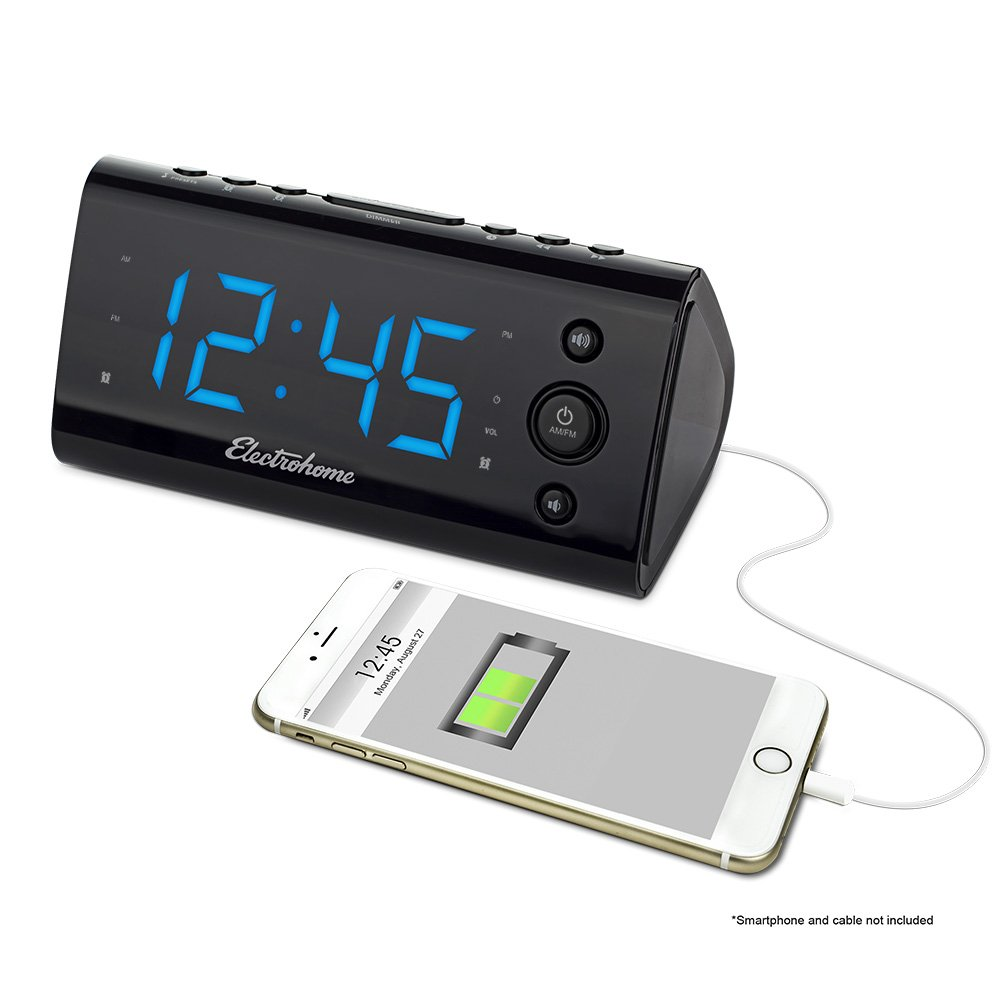 Electrohome Alarm Clock Radio with USB Charging for Smartphones & Tablets includes Dual Alarm, Battery Backup, Auto Time Set & 1.2'' LED Display with 4 Dimming Options (EAAC470)