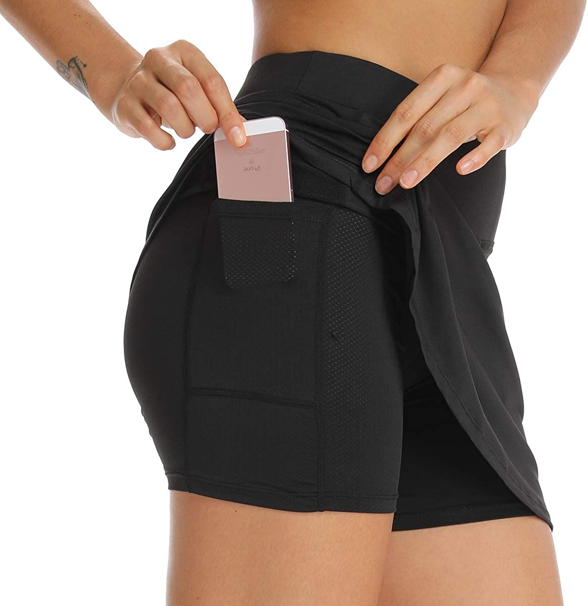 Ultrafun Women Athletic Tennis Skirts Stretchy Sports Golf Running Skirt Skort with Inner Shorts Pockets for Fitness Workout: Clothing