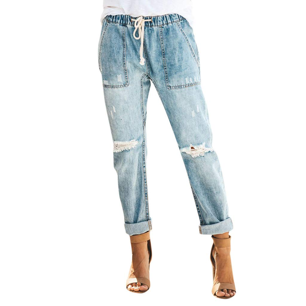 BCDshop Women Drawstring Distressed Denim Pants Ripped Elastic Waist Jeans Trousers (M, Light Blue) by BCDshop_Pants