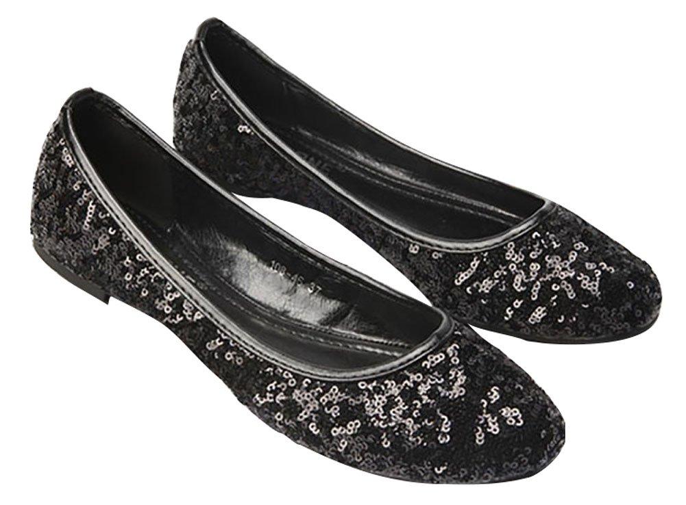 Plaid&Plain Women's Solid Sequins Round Toe Slip On Low Cut No Heels Flats Pumps Shoes B01F15EEDC Tag 40 = Women 8 B(M)|Black