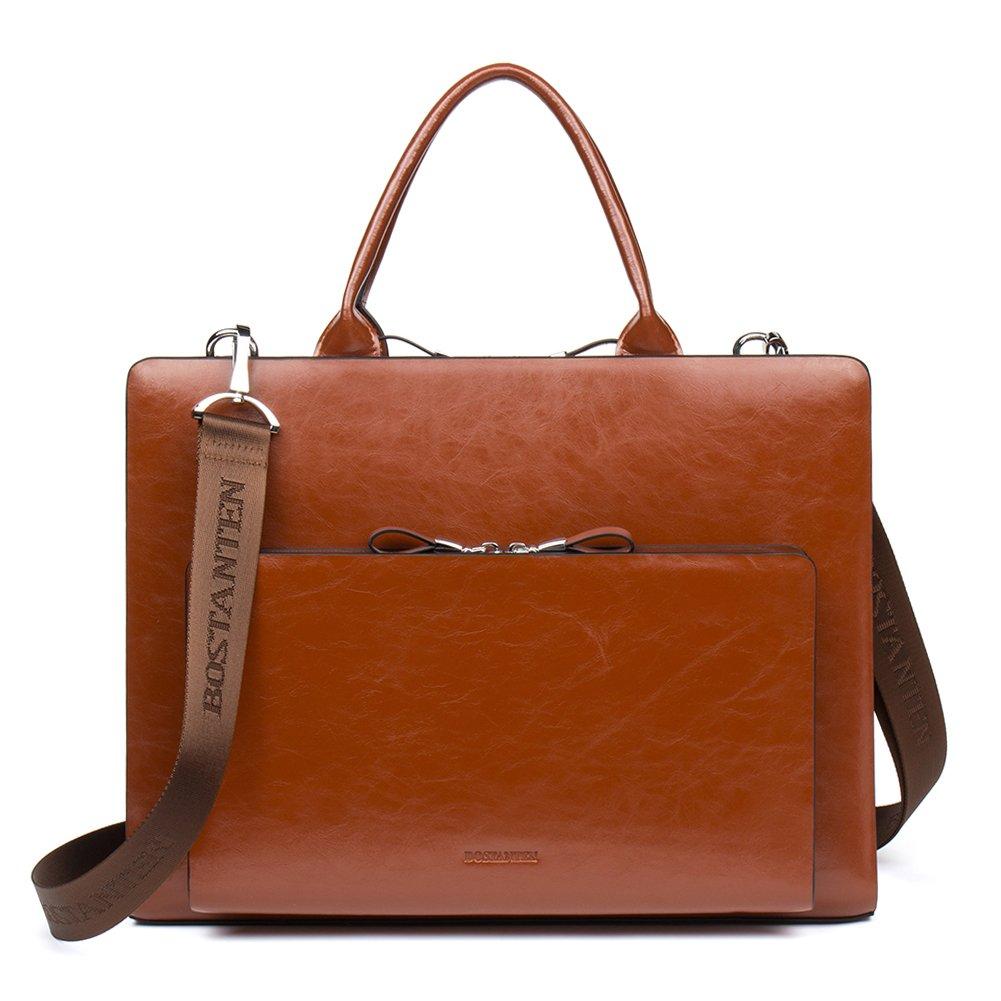 BOSTANTEN Leather Briefcase Shoulder Laptop Business Vintage Slim Bags for Men & Women by BOSTANTEN
