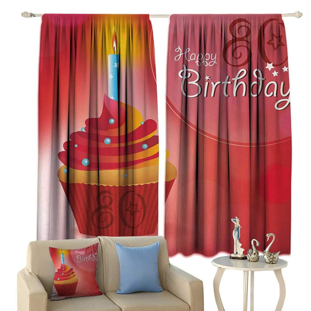 HoBeauty 80th Birthday, Window Curtain Drape, Birthday Party Cupcake with a Candle and Beaming Sun Image Print, Customized Curtains,(W55 x L63 Inch, Orange Red and White by HoBeauty