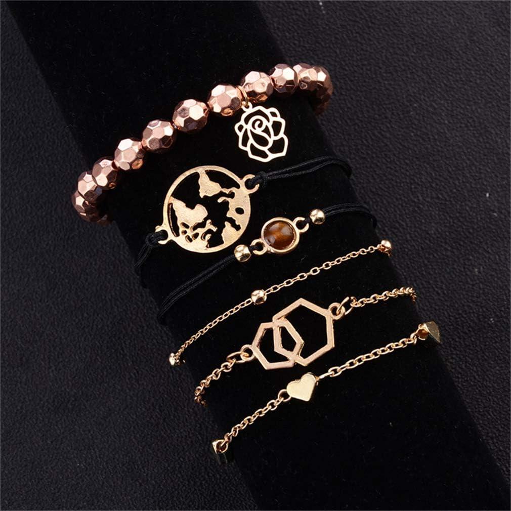 NYAOLE - Juego de 6 pulseras geométricas con diseño de mapa del mundo Amor flor de piedras preciosas perlas trenzadas de alambre ajustable de 6 piezas de pulsera moda simple accesorios joyas