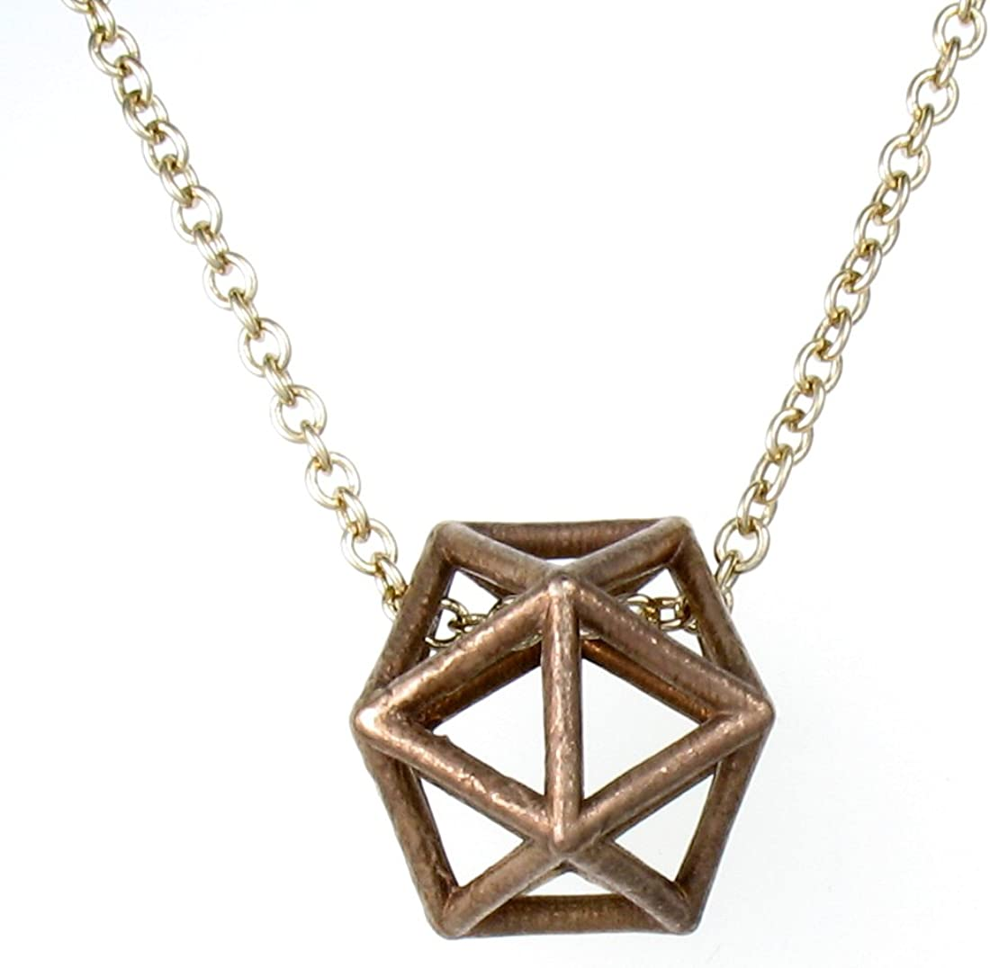 Impreso en 3d bronce icosaedro collar con colgante, 20
