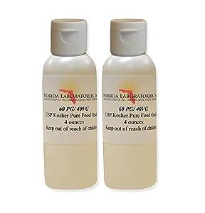 2 -Bottles 4 oz 60/40 PG-VG Propylene Glycol & Vegetable Glycerine Kosher 99.9% Pure Food Grade