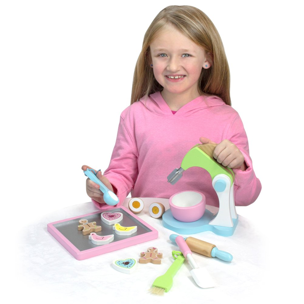 Childrens Wooden Play & Pretend Food Set, Cookie Baking Set with Cookies, Tray, Bowl, Mixer & More! Wood Play Food Cookie Baking Set by Sophia's (Image #2)