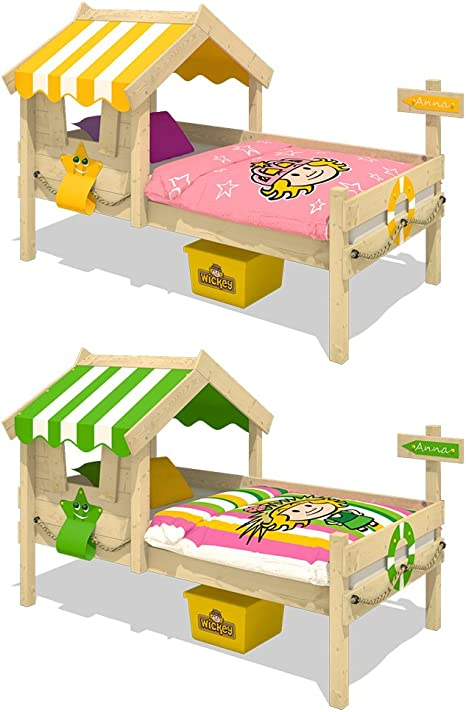 WICKEY Cama infantil CrAzY Sunny Cama de madera Cama individual 90x200 con techo y somier de madera, amarillo: Amazon.es: Bricolaje y herramientas