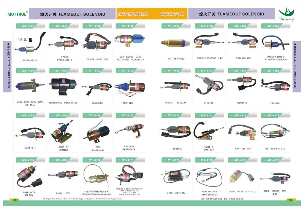 053400-1461 053400-2301 053400-1011 053400-7350 ME040145 Stop Solenoid Valve,Shutdown Solenoid FITS for HD800 HD900