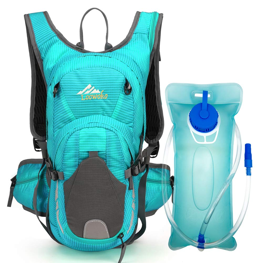 Loowoko 20L Hydration Riding Backpack with 2L Water Bladder, Multiple Pockets Includes Helmet mesh Belt Perfect for Cycling Running Camping Hiking (Blue)