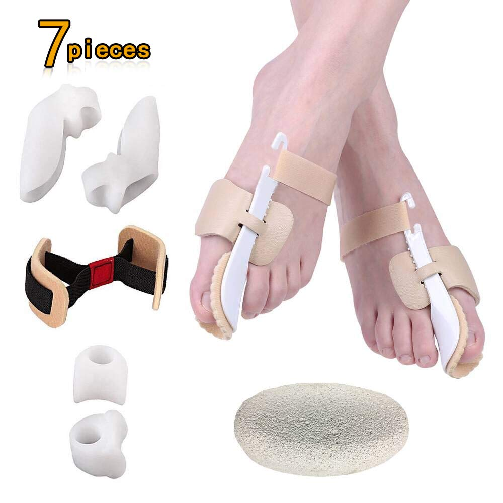 Bunion Corrector (7 Pieces) for Hallux Valgus Relief, Adjustable Bunion Splint Set Night Time Soft Gel for Toe Straightener,Toe Spacers,Big Toes Joint,Toe Separators