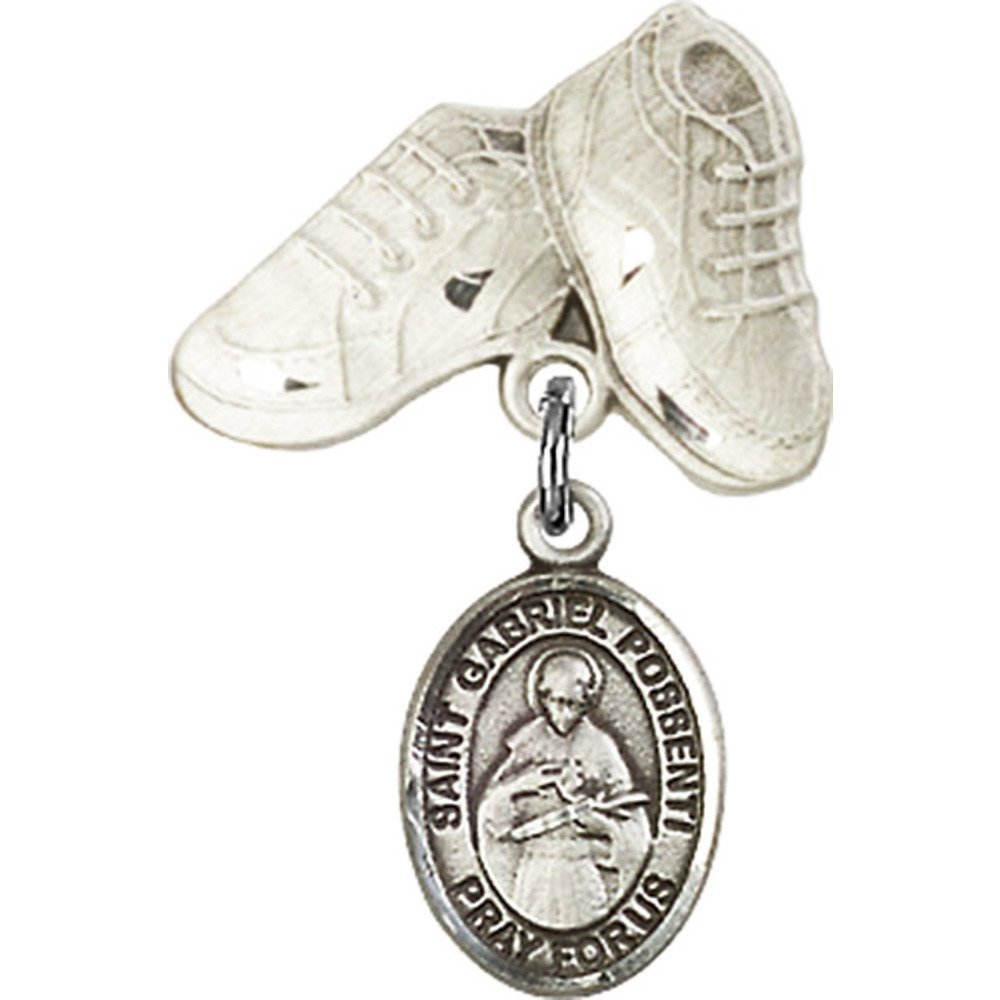 Sterling Silver Baby Badge with St. Gabriel Possenti Charm and Baby Boots Pin 1 X 5/8 inches