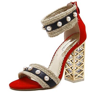 SHOWHOW Damen Modern Perle Geflochten Offene Zehen Sandaletten mit Metallabsatz