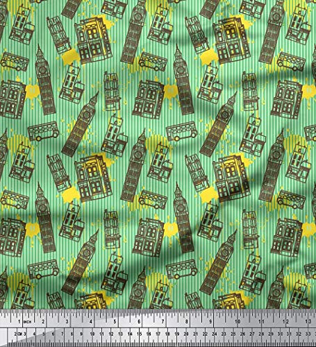 Soimoi Decorative 44 Inches Wide London Theme Clock Tower Print Georgette Fabric by The Yard - Mint Green