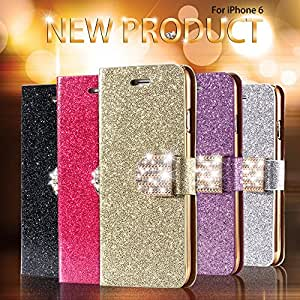 50 Bling Shiny Diamond Full Case For Iphone 6 Plus 5.5 Inch Leather Phone Housing With Buckle Card Slot Stand Cover Wholesale --- Color:Gold