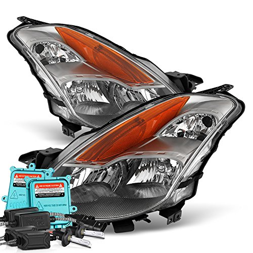 VIPMotoZ 2008-2009 Nissan Altima Coupe Headlights - Built In Xenon HID Low Beam, Metallic Chrome Housing, Driver and Passenger Side (Headlight Hid Nissan Altima)
