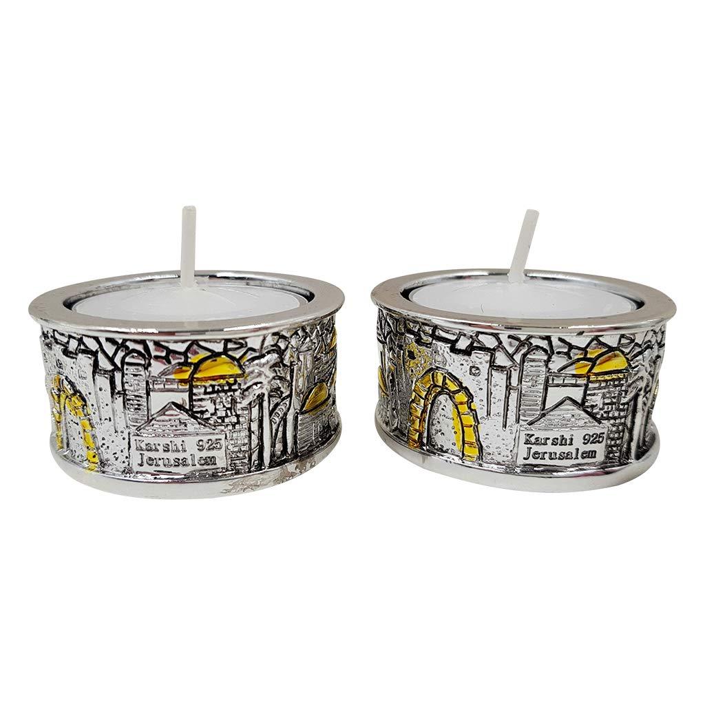 Talisman4U Silver Plated Shabbat Candles Holders Mini Candlesticks Set with Golden Accents Jerusalem Design Judaica Gift