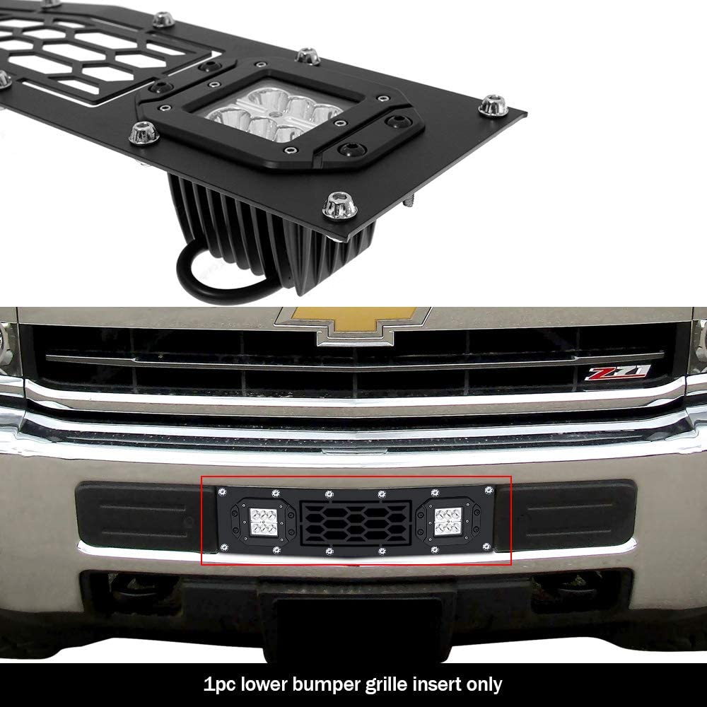 APS Compatible with 2015-2019 Chevy Silverado 2500HD 3500HD Lower Bumper Stainless Steel Black Laser Cut Mesh with Stud Rivets /& LED Grille Insert N19-L9136LC