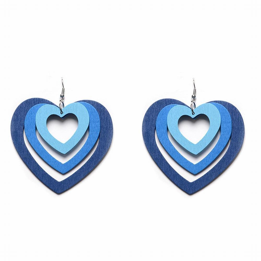 JIN Fashion Personality Wooden Love Earrings Simple 3 Layer Overlay Love Short Earrings, B fashion Dangle Drop Earrings for women girl