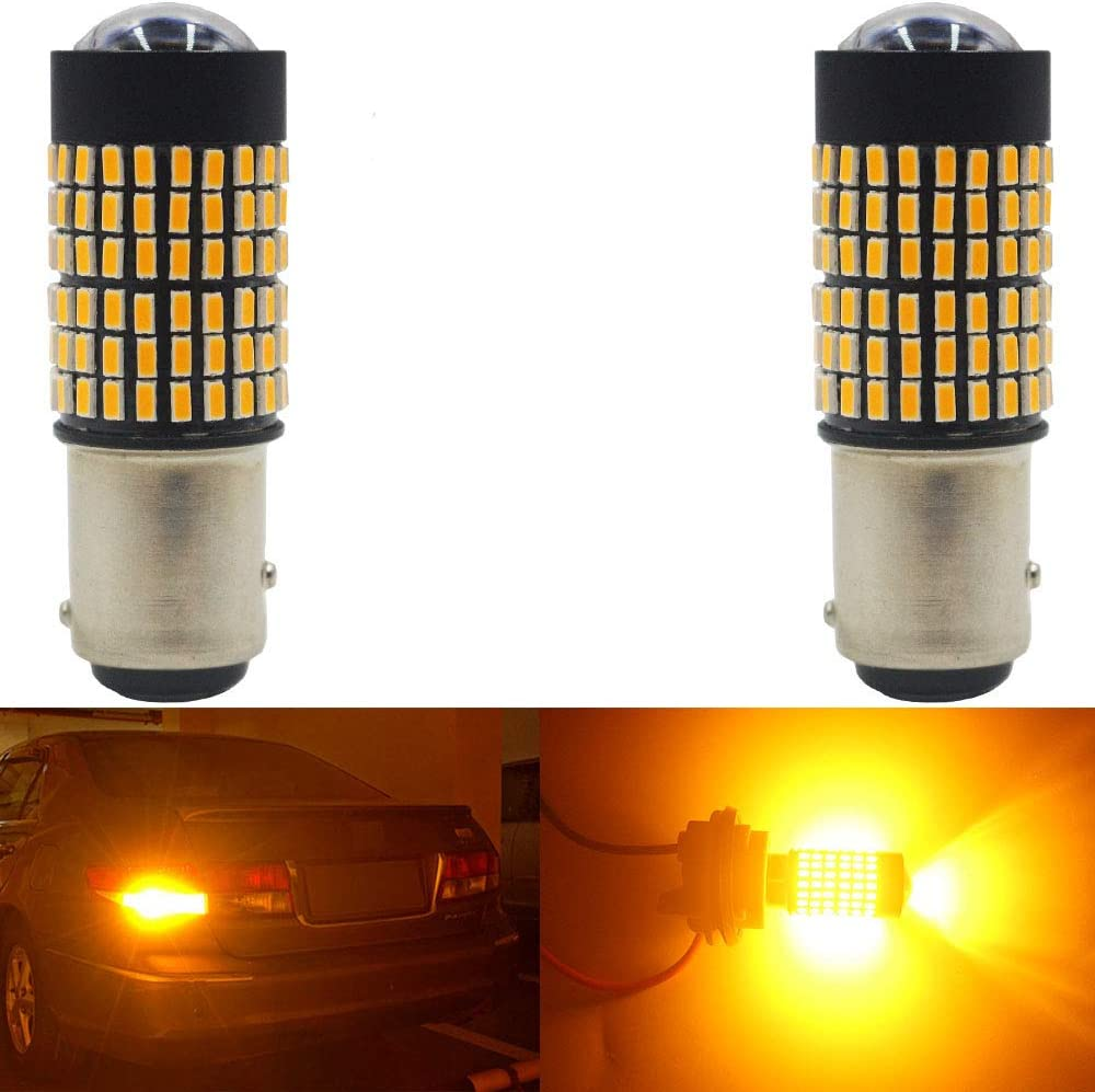 Replacement 1016 1034 7528 2057 2357 for Tail Blinker LED Bulb AMAZENAR 2-Pack 1157 BAY15D Car Turn Signal Lights 9V-30V Amber//Yellow Extremely Bright 950 Lumens 3014 144 SMD LED with Projector